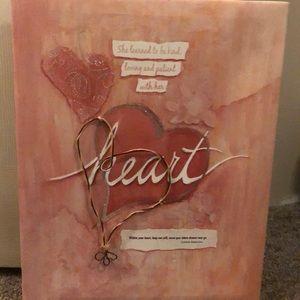 Pink, heart, painted wall art décor,